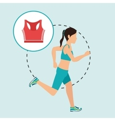 Woman run sport health vector