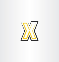 Yellow black letter x icon logo logotype sign vector
