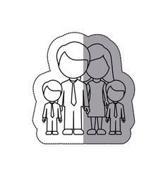 Silhouette family their boys twins icon vector