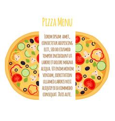 flat vegetarian pizza menu margherita with tomato vector image