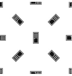 Wooden door with glass pattern seamless black vector