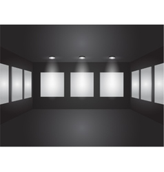 Gallery interior with empty frames on wall vector