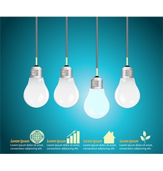 Four light bulbs hanging against blue background vector