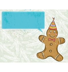 Background with gingerbread man and label vector