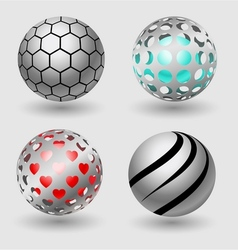 Silver ball business icon collection vector image