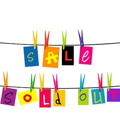 Sale and sold out hanging on a rope vector image