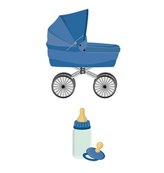 Blue baby carriage bottle and pacifier vector