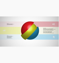 3d infographic template with ball askew sliced to vector