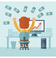 Successful businessman with a lot of money vector