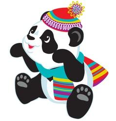 Cartoon panda wearing scarf vector