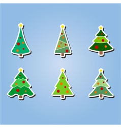 Color icons with christmas trees vector