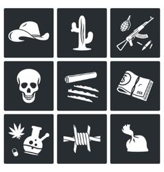 Mexican cartel and arms smuggling icons set vector