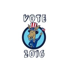 Vote 2016 democrat donkey mascot flag circle vector