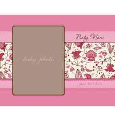 Baby girl arrival card with frame vector