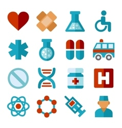 Medical icons set in flat style vector