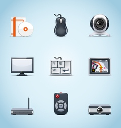 Computer peripherals icons vector