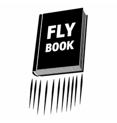 Book with title fly book black simple icon vector