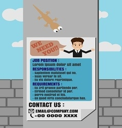 Job finder poster on electricity post vector