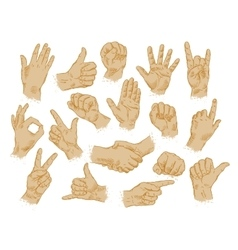 hand gestures set of symbols and icons vector image