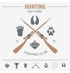 Hunting logo and badge template equipment flat vector