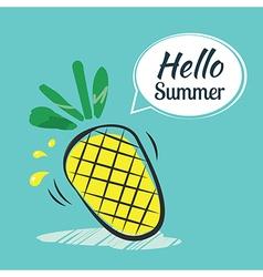 Hand drawing hello summer card vector