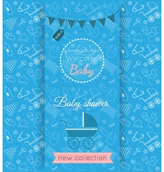 Baby blue card with blurred background vector