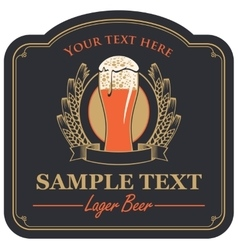 Beer label with a glass vector