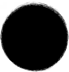 Black circle with scribble strokes border vector