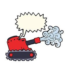 Cartoon army tank with speech bubble vector