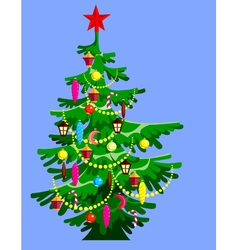 cartoon Christmas tree decorated vector image vector image