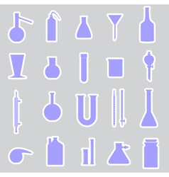 Chemistry laboratory glassware stickers eps10 vector