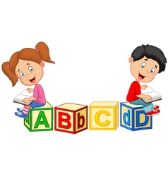 Children reading book vector image vector image