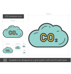 Co2 emission line icon vector