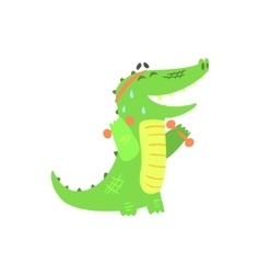 Crocodile with dumbbells exercising in gym vector
