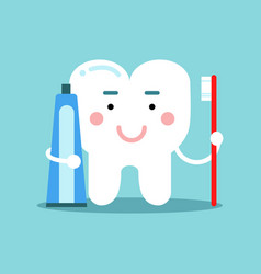 cute cartoon tooth character brushing with vector image