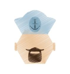 Drawing face sailor man bearded cap nautical vector