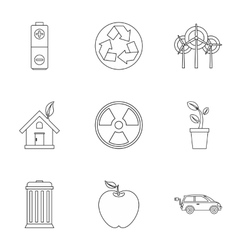 Ecology icons set outline style vector
