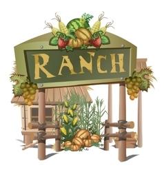 Farmhouse entrance on a ranch with rich harvest vector