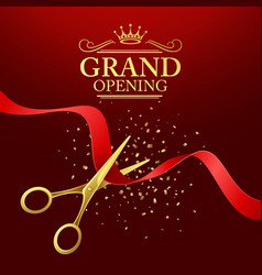 Grand opening with red ribbon and vector