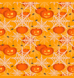 halloween pumpkin head seamless pattern vector image vector image