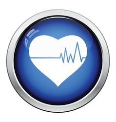 Heart with cardio diagram icon vector