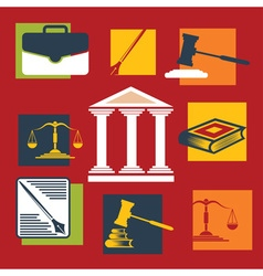 Justice and law iconsflat design vector