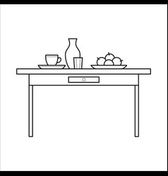 kitchen table with utensils vector image