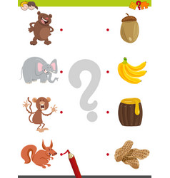 Match pictures educational activity vector