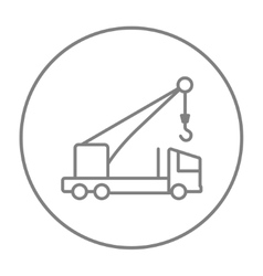 Mobile crane line icon vector