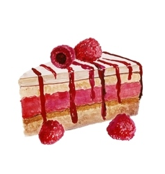 Piece of cake watercolor painting on white vector