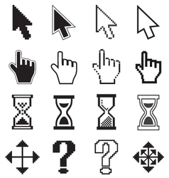 Pixel cursors icons arrow hourglass hand mouse vector
