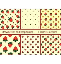Set berries strawberries and raspberries seamless vector