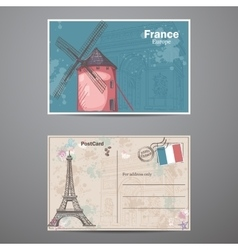 Set two sides postcard on the theme of paris in vector