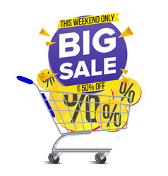 shopping cart big sale banner discount vector image